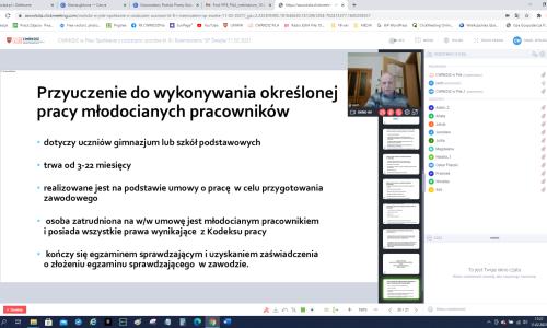 zrzut ekranu ze Spotkania online z rodziacami uczniow na zdjeciu Iwona Damiecka i Karol Pufal (12)
