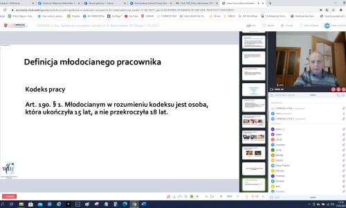 zrzut ekranu ze Spotkania online z rodziacami uczniow na zdjeciu Iwona Damiecka i Karol Pufal fragment prezentacji o rzemiosle (4)