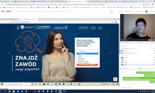 zrzut ekranu ze Spotkania online z rodziacami uczniow na zdjeciu Iwona Damiecka i Karol Pufal i fragment prezentacji (11)