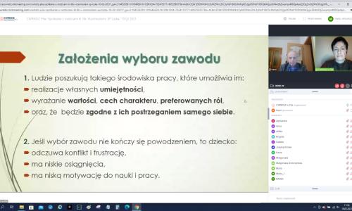 zrzut ekranu ze Spotkania online z rodziacami uczniow na zdjeciu Iwona Damiecka i Karol Pufal i fragment prezentacji zalozenia wyboru zawodu