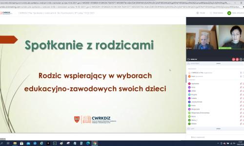 zrzut ekranu ze Spotkania online z rodziacami uczniow na zdjeciu Iwona Damiecka i Karol Pufal